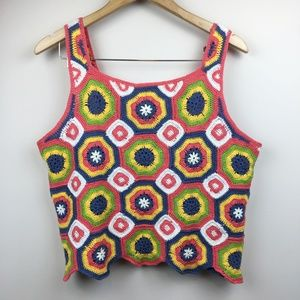 Vintage Boho Crocheted Granny Square Crop Top